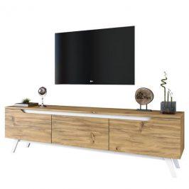 Sconto TV stolek QUINN světlý ořech/bílá