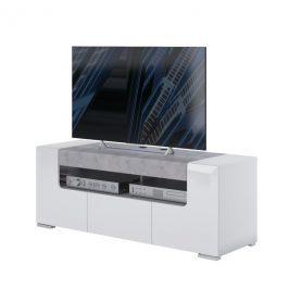 Sconto TV komoda CANTERO bílá vysoký lesk/beton, šířka 140 cm