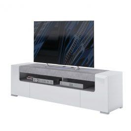 Sconto TV komoda CANTERO bílá vysoký lesk/beton, šířka 190 cm