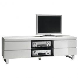 Sconto Televizní stolek SAMMY bílá/vysoký lesk