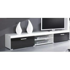 Samba - TV skříň (bílá mat - korpus / černý lesk - fronty)
