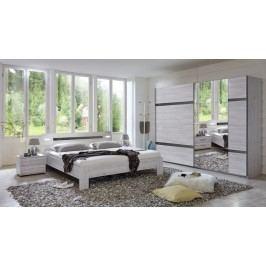 Nizza-skříň,2x šatní tyč,postel (dub bílý+šedá vysoký lesk)
