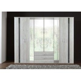 Nizza-skříň 4x dveře,4x zrcadlo (dub bílý+šedá vysoký lesk)