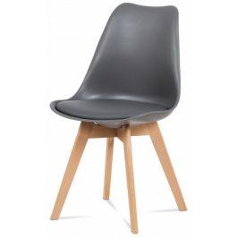 Jídelní židle Lina šedá, plast + eko kůže