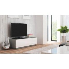 Livo - TV stolek 160 stojící (šedá mat/bílá lesk)