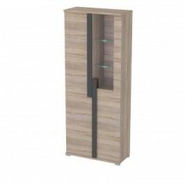 Markus - Vitrína, sklo, 2x dveře, 3x police, LED (dub sonoma)