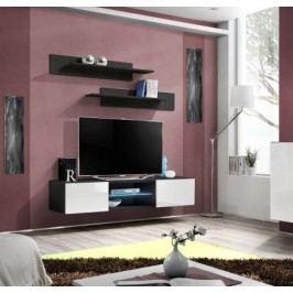 Fly - RTV, 1x dveře, 1x police, LED (černý mat/bílý lesk)