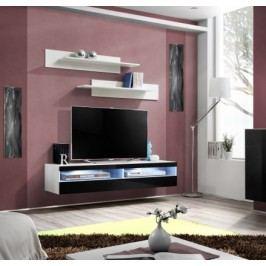 Fly - RTV, 1x dveře, 2x police, LED (bílý mat/černý lesk)