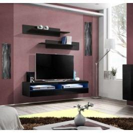 Fly - RTV, 1x dveře, 2x police, LED (černý mat/černý lesk)