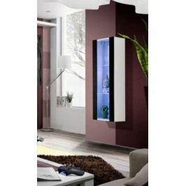 Fly - vitrína, 2xpolice, LED (bílý mat/černý lesk)