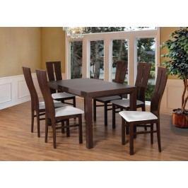 Set 1 - 6x židle, stůl, rozkládací (ořech tmavý/madryt 120/buk) Jídelní sety
