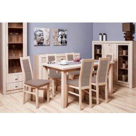 Agáta - Set 6x židle, 1x stůl + rozklad (sonoma/nubuk 26w)