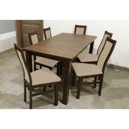 Jídelní set Agáta - 6x židle, 1x rozkládací stůl (wenge/látka)