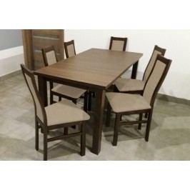 Jídelní set Agáta - 6x židle, 1x rozkládací stůl (wenge/eko kůže) Jídelní sety
