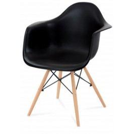 Lisa - Jídelní židle s područkami (plast černý/masiv buk)