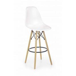 H-51 - Barová židle, masivní dřevo, bílá
