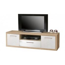 Shine - TV komoda, 3x zásuvka (dub sonoma/bílá lesk)