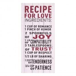 Nástěnný dřevěný citát Recipe for Love
