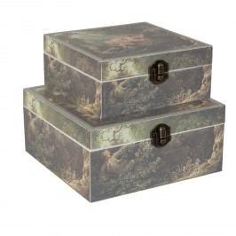 Sada dvou dřevěných boxů s dekorem dámy na houpačce (18x18x8 cm)