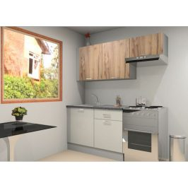 Kuchyňská linka Naturel Gia 180-190 cm bílá-dub mat KUCHSETG7