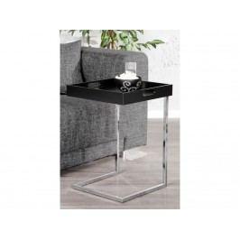 INV Odkládací stolek Nica černá-chrom, podnos